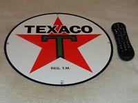 """VINTAGE 1930 TEXACO GASOLINE STAR & GREEN T 15"""" PORCELAIN METAL ENAMEL OIL SIGN!"""
