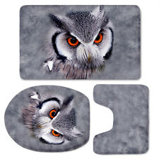 3pcs Toilet Cover Set Bathroom Padded Soft Mat Carpet Bathmats Owl Peacock Rugs
