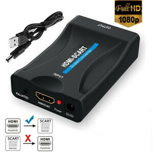 1080P HDMI To SCART Adapter Video Audio Converter USB Cable TV DVD PS Sky Box E