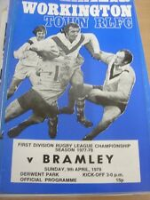 09/04/1978 Rugby League Programme: Workington Town v Bramley (team changes)