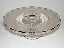 """VINTAGE AMERICAN SILVER OVERLAY GLASS PEDESTAL CAKE PLATE SERVER STAND 11"""" WIDE"""