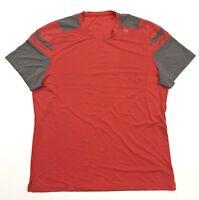Lululemon Mens Athletic Short Sleeved Orange Gray Workout Gym Shirt Sz. XL