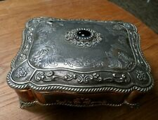 Vintage Silver Plated Jewellery Trinket Box with Blue Velour Lining
