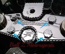 Hayabusa Chrome 3D Hex Ball Cut Triple Tree Bolt Plugs/Covers/Caps!! 99-07-08-18