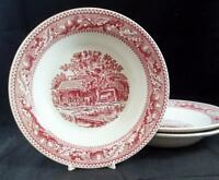 Royal USA MEMORY LANE PINK 3 Rim Soup Bowls GOOD CONDITION