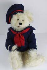 Mohair Artist Handmade White Sailor Nautical Bear Pearls by Nancy Crowe Vintage