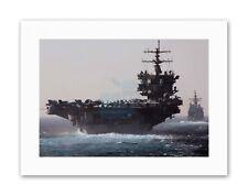 GUERRA Navy Corazzata PORTAEREI USS ENTERPRISE JET Militare TELA ART