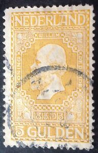 Netherlands 1913 5 guilder yellow stamp vfu