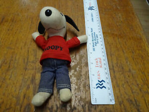 "Vintage Snoopy soft doll red top and denim jeans 8"" 1968."