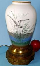 ANTIQUE BRISTOL GLASS HAND PAINTED NAUTICAL BIRD VASE LAMP ORNATE BRASS BASE