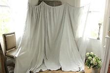 Antique French LARGE bed curtain grey - white damask w/ trim 19th ciel de lit ~