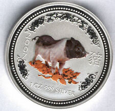 Australia 2007 1 dolar 1 onza plata pura Calendario asiatico año del CERDO esmal