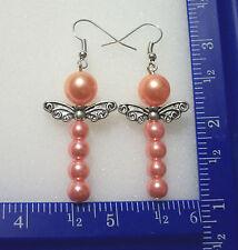 Tibet silver wings & peach & pink bead dragon fly earrings