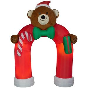 Christmas Inflatable Animated LED Fuzzy Plush Teddy Bear Archway By Gemmy