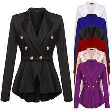 Damen Mode Zweireihig Goldknopf Militär Stil Jacke Blazer Hot NEU