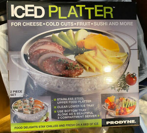PRODYNE Iced Platter-2 Piece Set-Stainless Steel Upper/Clear Lower-New/SEALED