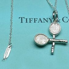 Tiffany & Co Tennis Racquet 925 Silver Charm Pendant Necklace + 16 Inch Chain