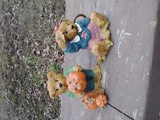 "2 Home Interiors Gifts 1999 Kk Fall Bear Figurine ""Thank You Bears"""