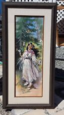 ORIGINAL SIGNED 1985 Mimi Jobe Framed Painting Indian Maiden NOTED ARTIST!