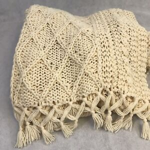 Hand Made By Lois George Knitted Ivory Afghan Throw Lap Blanket Fringe 46x62