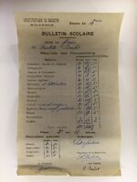 Ancien Bulletin Scolaire De 1942 Institution St Joseph Solesmes