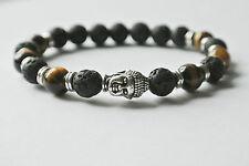 Buddha Lava Stein Armband Antik Silber Bracelet Fashion Vintage Tigerauge