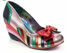 Irregular Choice 'Hopscotch' (A) Pink Wedge Heel Bow Shoes