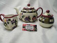 Oneida Strawberry Plaid Tea Pot, Creamer and Sugar Bowl