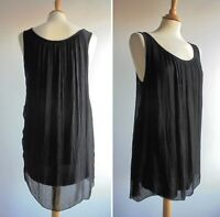 MADE IN ITALY Black Silk Mix Chiffon Top Jersey Lined Size 12 approx