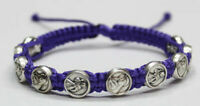 Saint Rita of Cascia and Jesus Divine Mercy bracelet Metal Medal Purple Cord