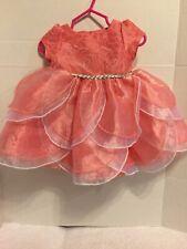 NANNETTE VABY GIRL Infant Dress Orange White Special Occasion Silver Sz 3-6M