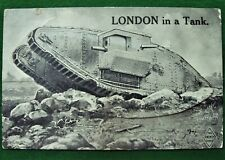 WW1 Novelty Postcard British Army Tank Fold Out Topographical Views of London