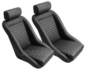 RETRO CLASSIC VINTAGE RACING BUCKET SEATS BLACK ALL PVC W SLIDERS (PAIR)