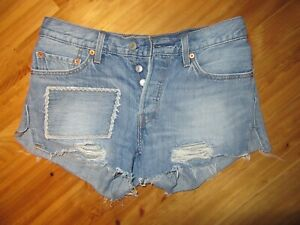 """Levis 26"""" 501 Destroyed Med Wash 4 Button Shorts Great Preowned Condition Cute"""