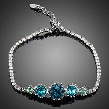 Platinum Plated Blue Shaded Made With Swarovski Austrian Crystal Bracelet (B837
