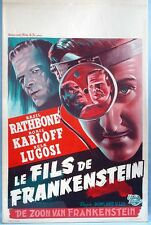 1940s-1950s Son of Frankenstein Belgian Movie Poster Boris Karloff Bela Lugosi