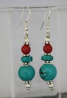 Handmade Jewelry Asian Sterling silver earrings Turquoise stone earring GLE78