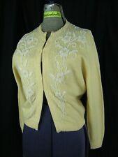 Dragon House Vtg 60s Light Yellow White Beaded Wool Cardigan Sweater-Bust 38/S