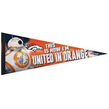 """DENVER BRONCOS STAR WARS BB-8 THIS IS HOW I'M UNITED IN ORANGE PENNANT 12""""x30"""""""