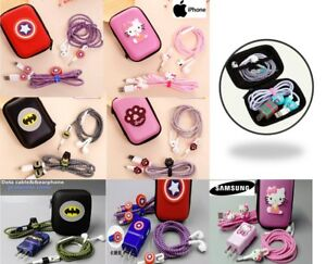 iPhone & Samsung USB Cable & Earphone Protector Set Winder Stickers Spiral Cord