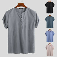 Vintage Men Casual Loose Shirt V-neck Short Sleeve Collarless Button Blouse Tops