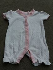 CUTE BABY GIRL'S WHITE & PINK HEART DESIGN ALL IN ONE ROMPER SUIT - FIRST SIZE