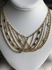 Strand Statement Bib Necklace Coach Womens Gold Multi Chain