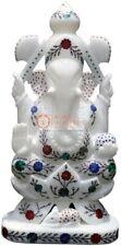 "12"" Marble Idol God Ganesha Figurine Multi Stone Pietradura Art Veterans Gifts"