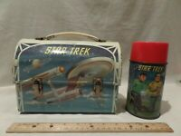 "RARE-VINTAGE 1968 ""STAR TREK"" DOME METAL LUNCH BOX WITH MATCHING THERMOS BY ALAD"