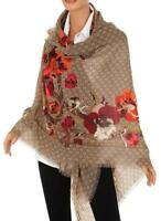 NEW GUCCI GUCCISSIMA EXTRA LIGHT WOOL FLORAL HORSEBIT SCARF WRAP SHAWL