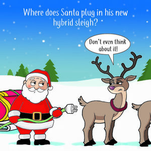 Merry Christmas Card with Hybrid Sleigh - Xmas Card - Funny Christmas Card -Rude
