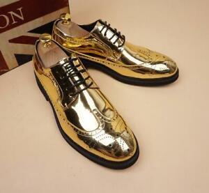 Fashion Vintage Mens Round Toe Block Heel Lace Up Pumps Casual Dress Shoes Size