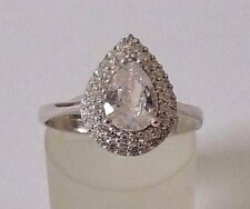 925 STERLING SILVER TEARDROP WHITE CUBIC ZIRCONIA  RING size P1/2, Q