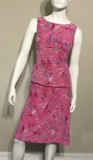 Evan Picone Black Silk Label Pink Floral two piece size 12